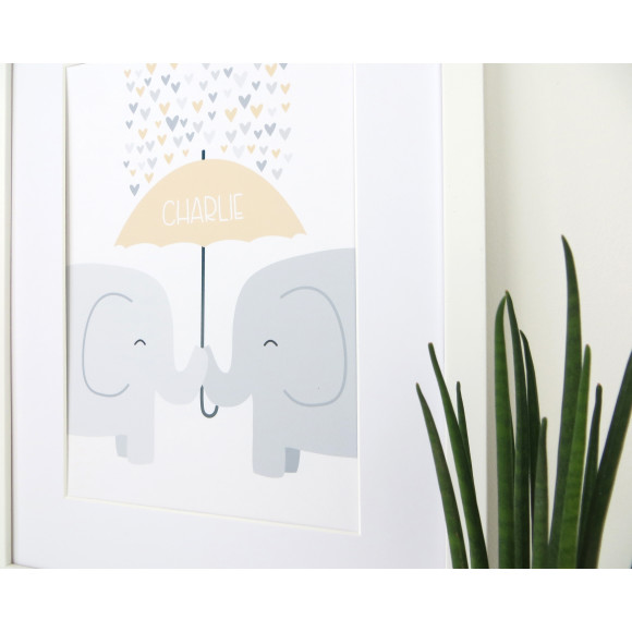 Elephant Nursery Print - yellow