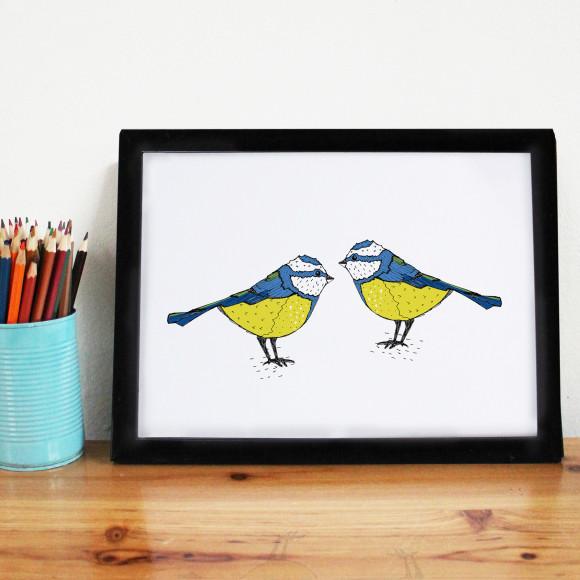 Bold Blue Tit Print