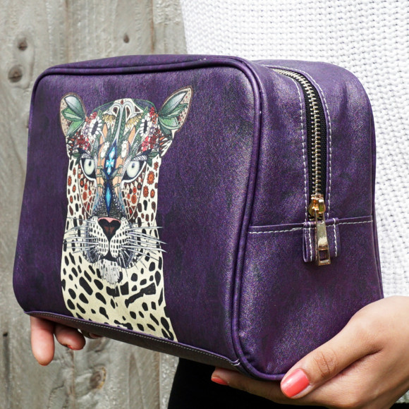 Leopard Queen Vegan Leather Large Toiletry Wash Bag