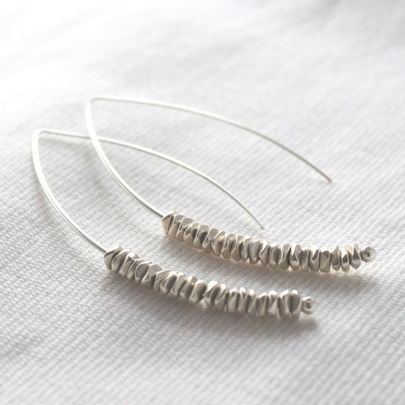 long silver chip drop earrings