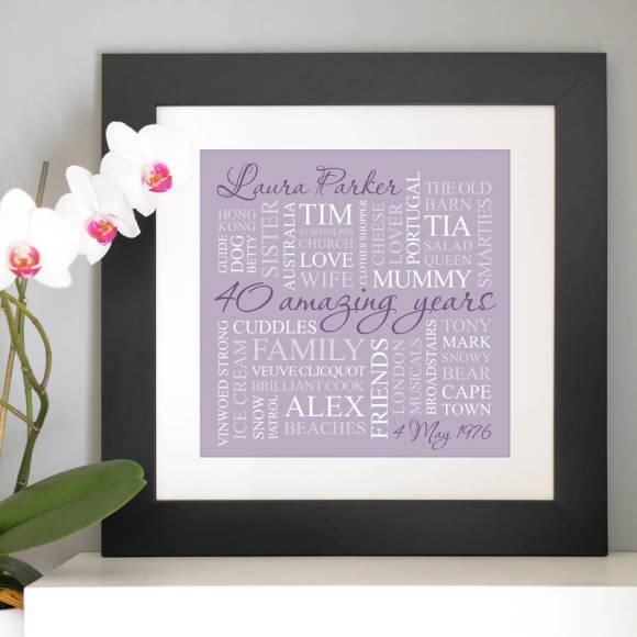 chunky black frame - lilac print