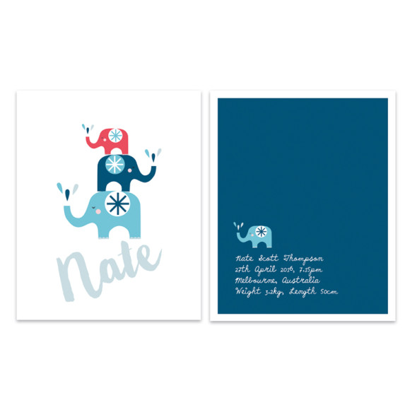 Elephants 2 Pack Blue & Red