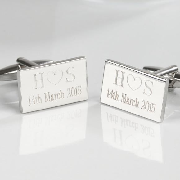Personalised silver cufflinks