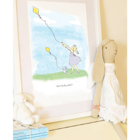 Flying a kite Print