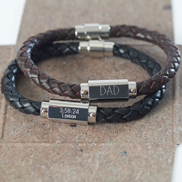Leather personalised bracelet for men
