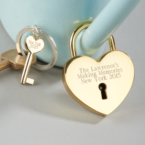 Love lock and key with engraving