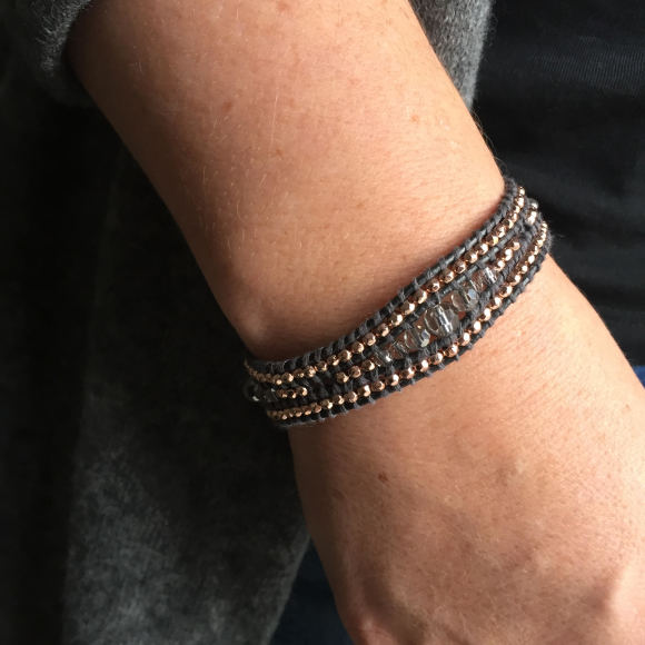 Crystal And Leather Single Wrap Bracelet
