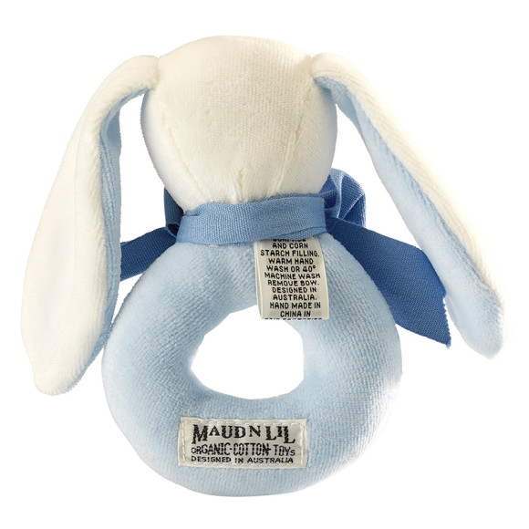 Pale blue Ears, Rose & Oscar the Bunny Baby Ring Rattle