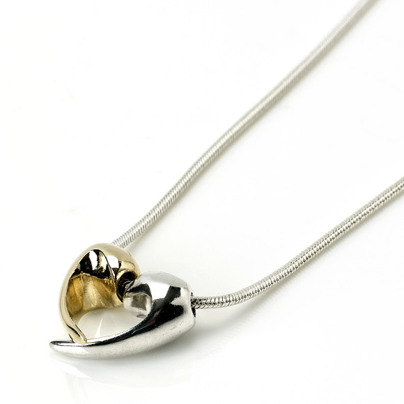 Silver & 9ct Gold Love Heart Necklace