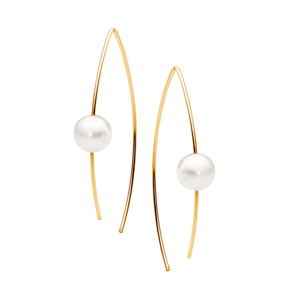 Gold and pearl ear wire earring