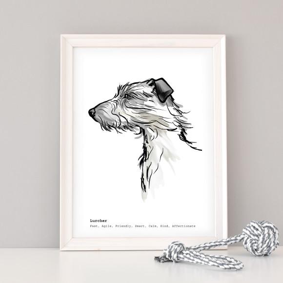 A3 Lurcher art print