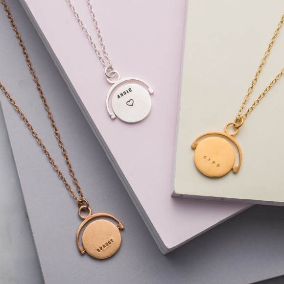 Personalised Spinning Necklace in 18ct rose gold plate, sterling silver, 9ct yellow gold plate.