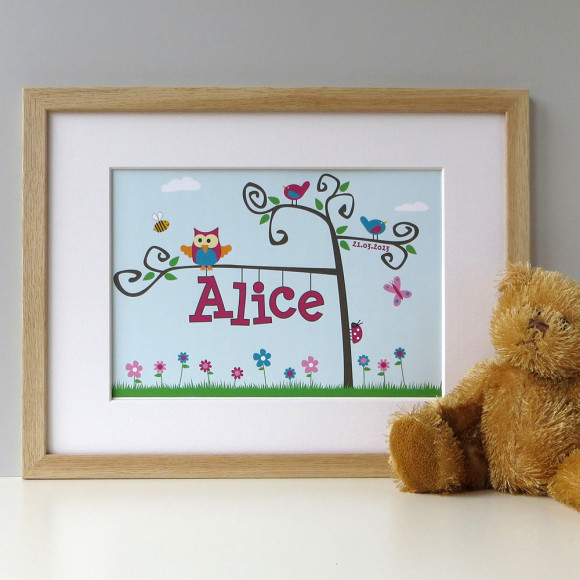 Personalised baby name tree art print - Frame not included