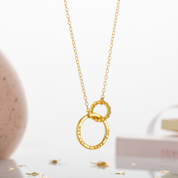 Personalised Bead Link Necklace in 9ct yellow gold