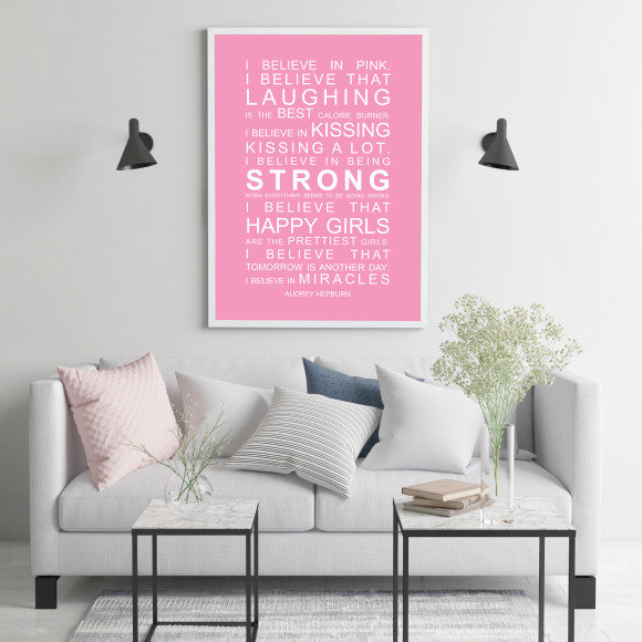 I Believe in Miracles Print in Pink