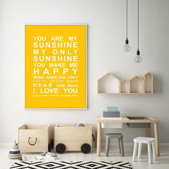 You are My Sunshine Bus Roll Print with optional white timber frame, in Yellow