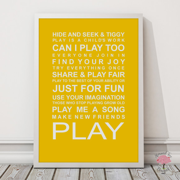Expressions of your childhood playroom rules print in Yellow, with optional Australian-made white timber frame