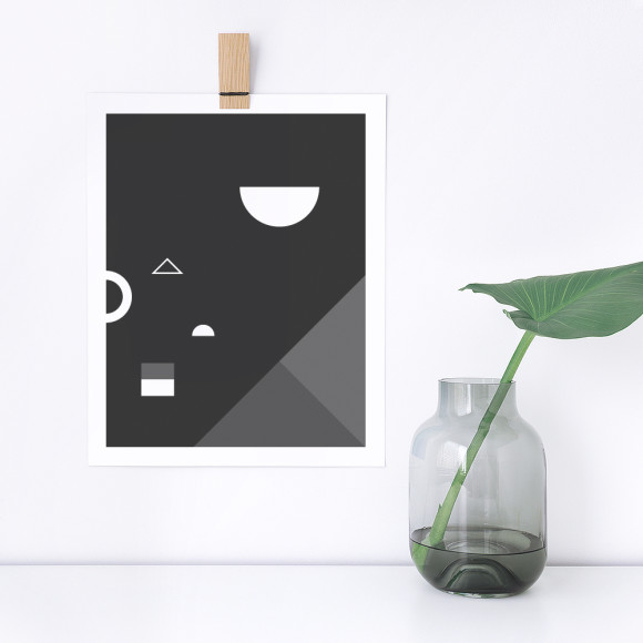 Soiree No. 2 Monochrome Geometric Art Print