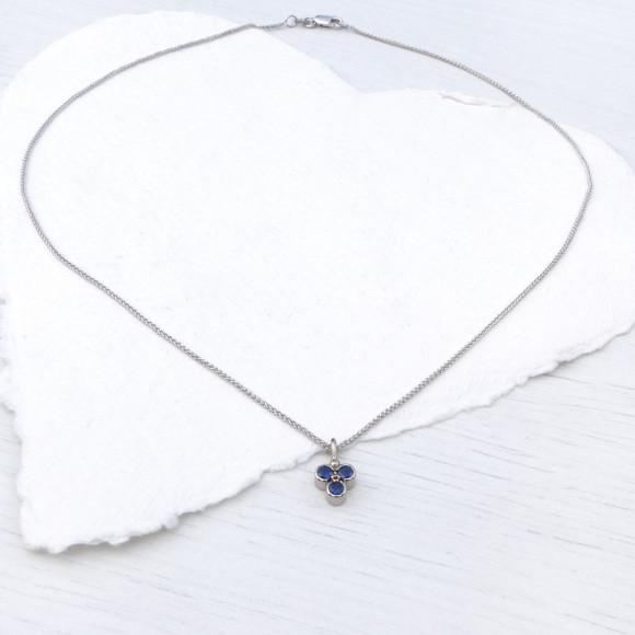 Blue Sapphire Trefoil Pendant