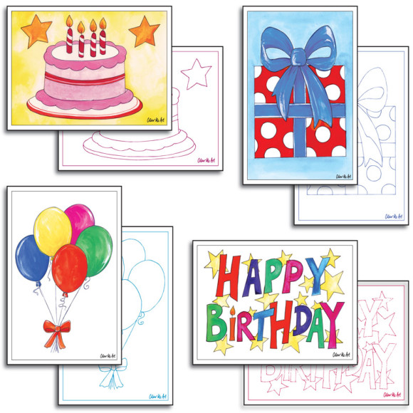 Party Cards to colour