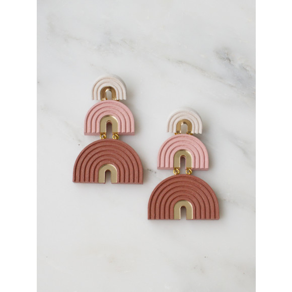 Three Arch Earrings - Pale Pink