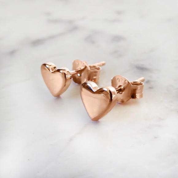 heart stud earrings rose gold
