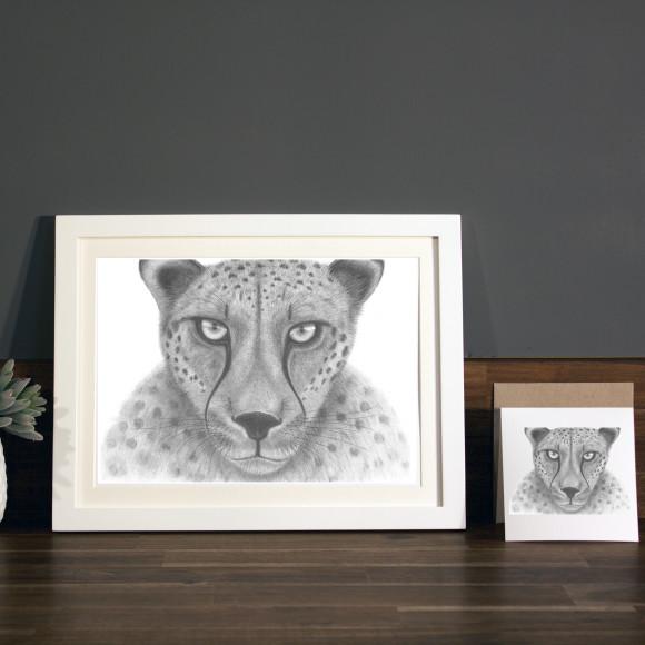 Cheetah print A4 white frame