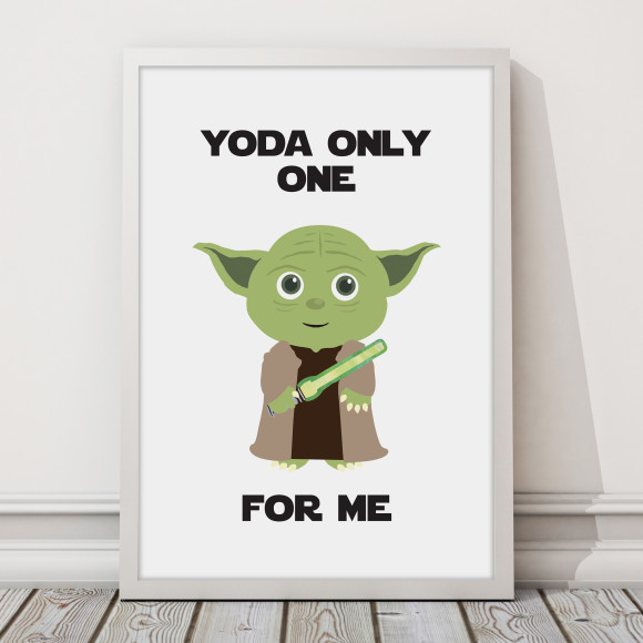 Star Wars - Yoda only one for me Print with optional Australian-made white timber frame
