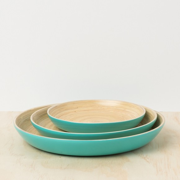 Turquoise Lacquer Bamboo Tray - SET OF 3
