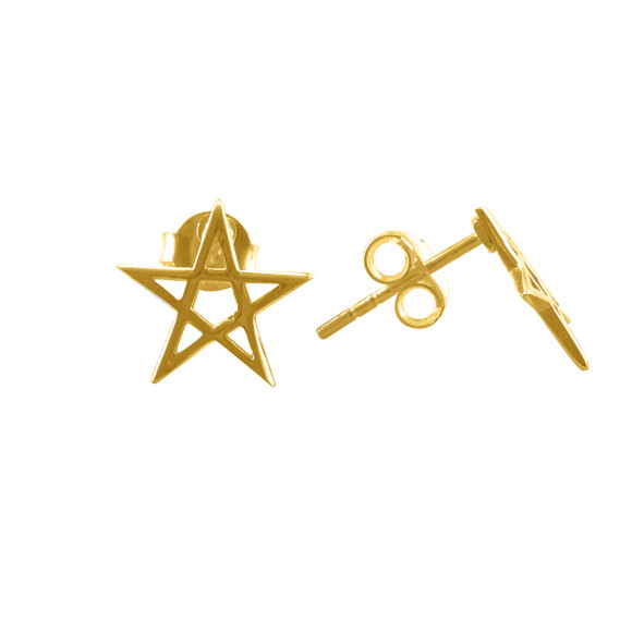 Pentacle Star Stud Earrings gold