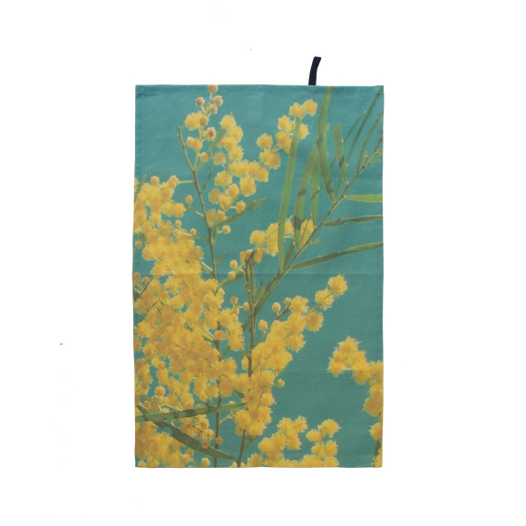 This beautiful green wattle tea towel lets you bring the backyard indoors.