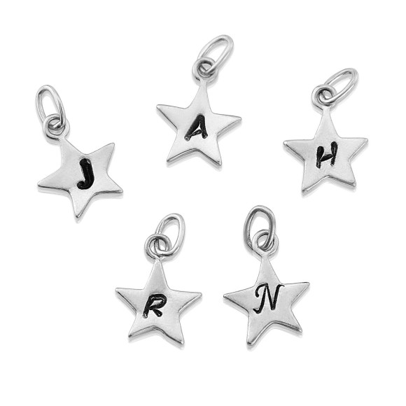 sterling silver star charm with letter