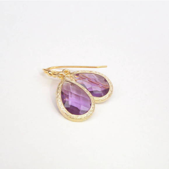 Faceted Glass Teardrop Earrings Lavender
