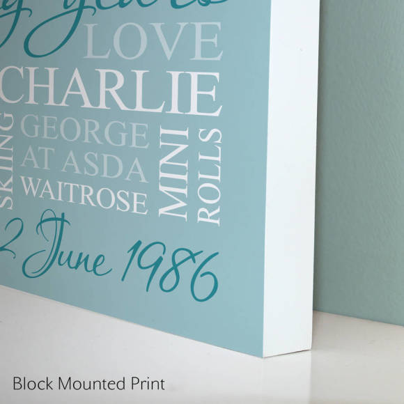 block mounted print - duck egg blue print