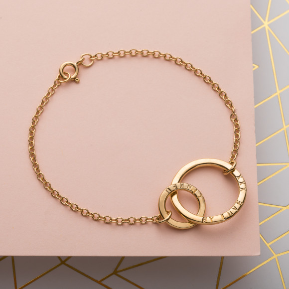 Personalised Link Bracelet in yellow gold plate