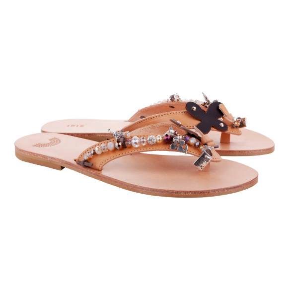beaded brown leather sandals for summer