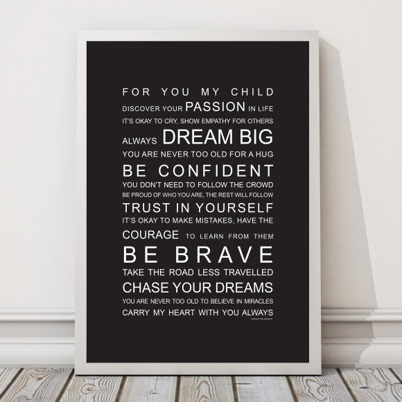 For You My Child Print in Black, with optional Australian-made white timber frame