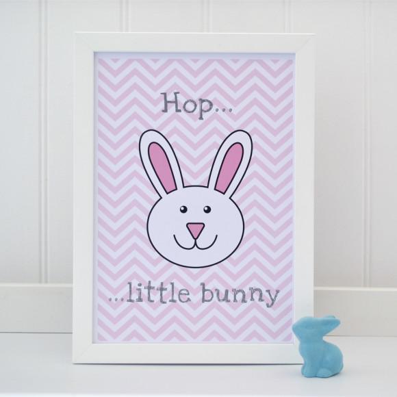 Hop little bunny pink chevron print