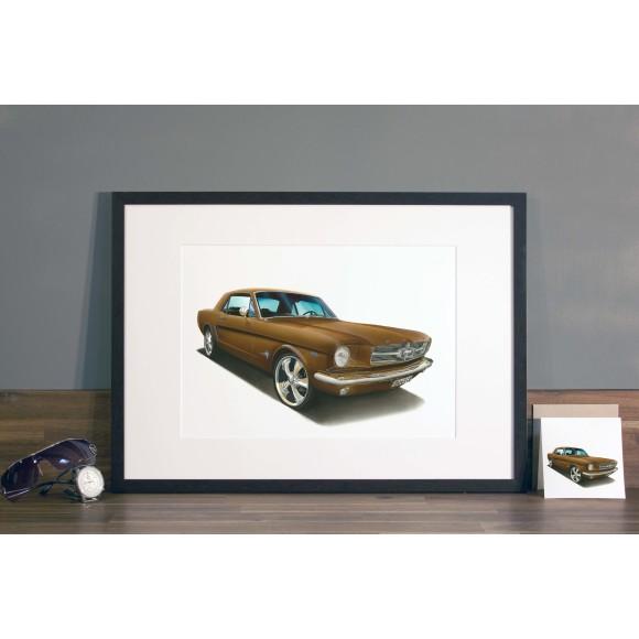 Mustang illustration in Mocha frame