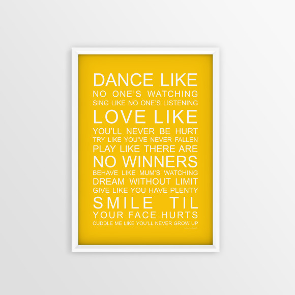 Family Wishes Print in Yellow