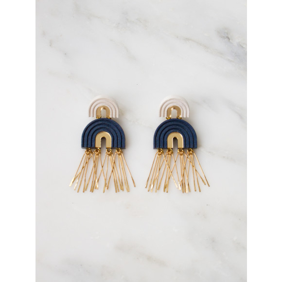 Two Arch Tassel Earrings - Midnight Blue