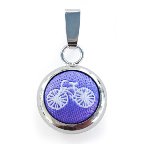 Purple Bicycle Pendant with Chain