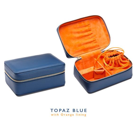 Blue Leather Jewellery Case