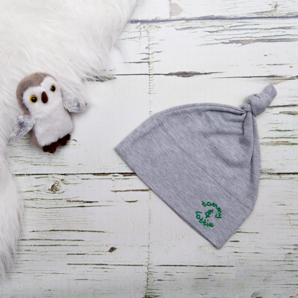 baby grey cotton top knot hat - green logo
