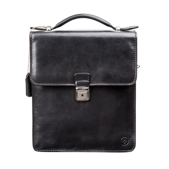 Black leather mens shoulder bag