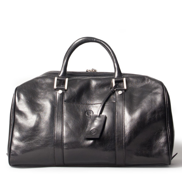 Small leather luggage bag in black