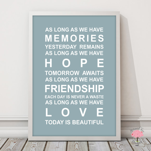 Memories Print in Duck Egg, with optional Australian-made white timber frame
