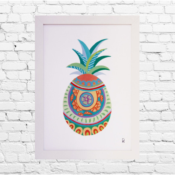 Spanish Pineapple Framed Art Print