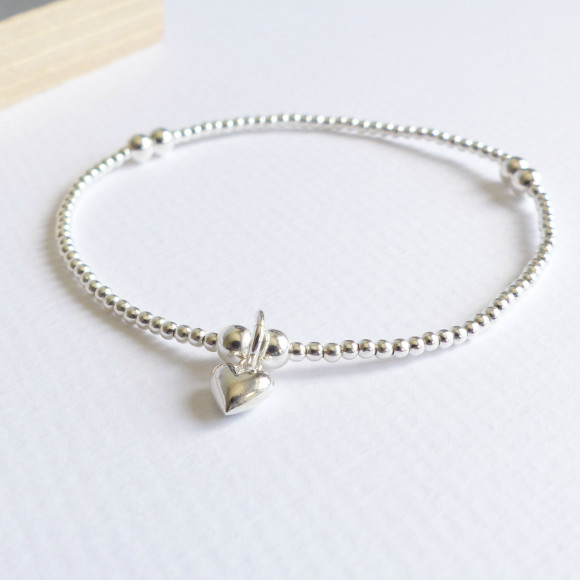 Sterling silver beaded tiny silver heart bracelet