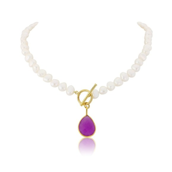 Mustique White Pearl Necklace with Lavender Chalcedony Drop